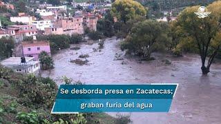 El desbordamiento de la presa San Aparicio causó daños en un puente vehicular que conecta a las comunidades San Fernando y Salto Prieto, así como en tres puentes peatonales