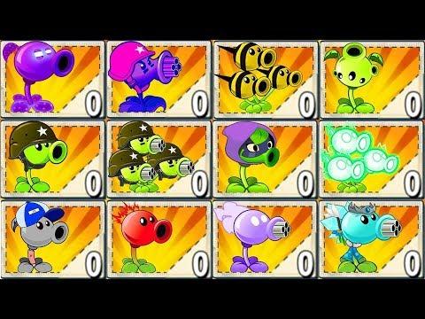 Plants vs Zombies 2 Mod: ALL PEA MAX LEVEL POWER-UP vs GARGANTUAR FIGHT