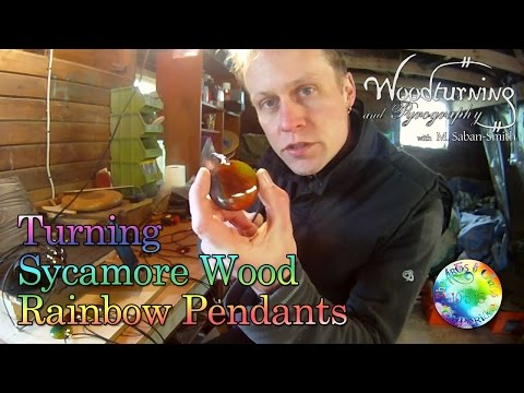 #7 Woodturning Sycamore Wood Rainbow Pendant Necklace
