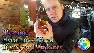 Turning Sycamore Wood Rainbow Pendants