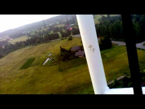 Climbing a cellphone tower in Latvia (no safety)