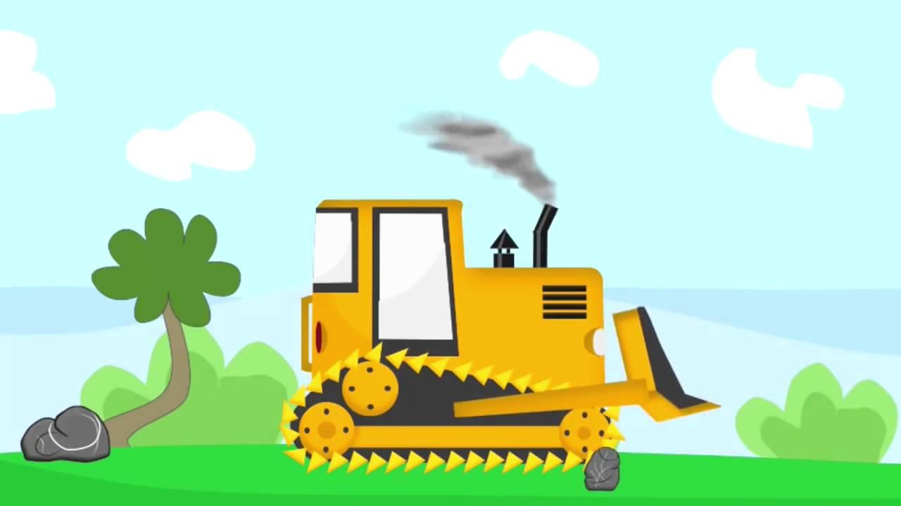 cartoon for kids driver machine excavators scoop up truck