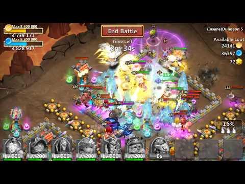 Insane Dungeon 5-4 Castle Clash F2P - 3 Flames (100%)