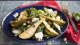 Салат из груш с фетой и шпинатом