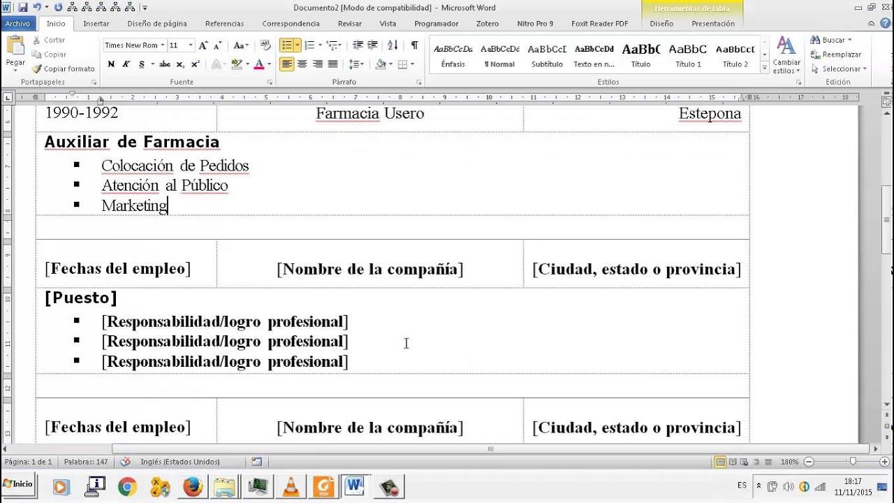 Curriculum vitae Editor de textos Word OACE FPB2 - YouTube