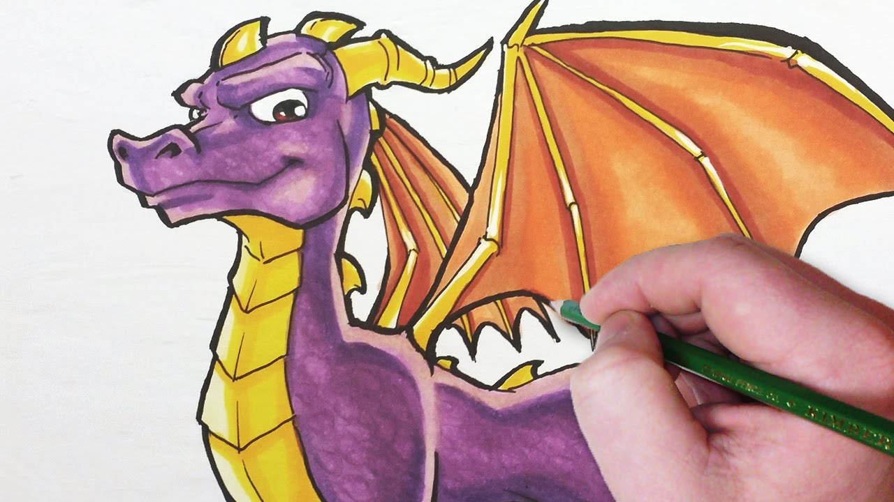 how to draw spyro the dragon