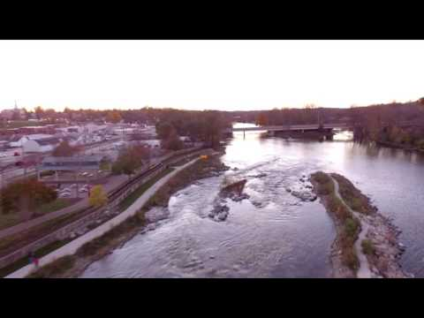 Drone Flight Over River in Downtown Yorkville, IL