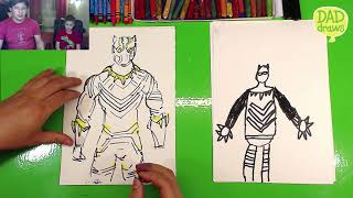 How to draw Golden Jaguar from Black Panther movie