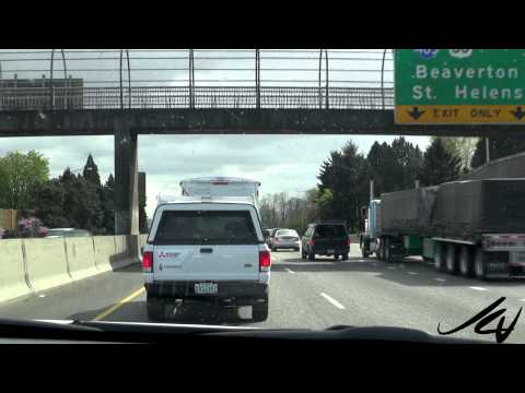 Arriving in Portland Oregon, big  traffic and lots of  bridges - YouTube