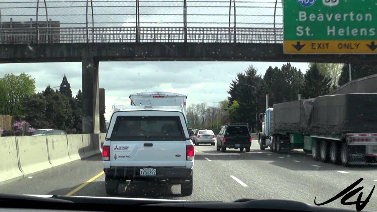 Arriving in Portland Oregon, big traffic and lots of bridges - YouTube