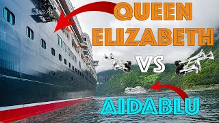 Cruise Ship Horn Battle - Aida Blu vs. Cunard Queen Elizabeth