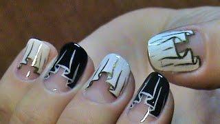 Шторки черно-белые на ногтях/ Маникюр на короткие ногти/ Curtains Nail Design