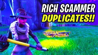 Rich Scammer Shows *NEW* Duplication Glitch! (Scammer Get Scammed) Fortnite Save The World