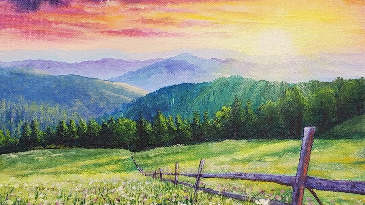 Landscape painting purple mountains and the meadow