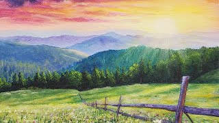 Sunset Meadow Landscape Acrylic Painting LIVE Tutorial