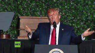 Donald Trump ofrece un discurso con un insecto sobre su cabeza