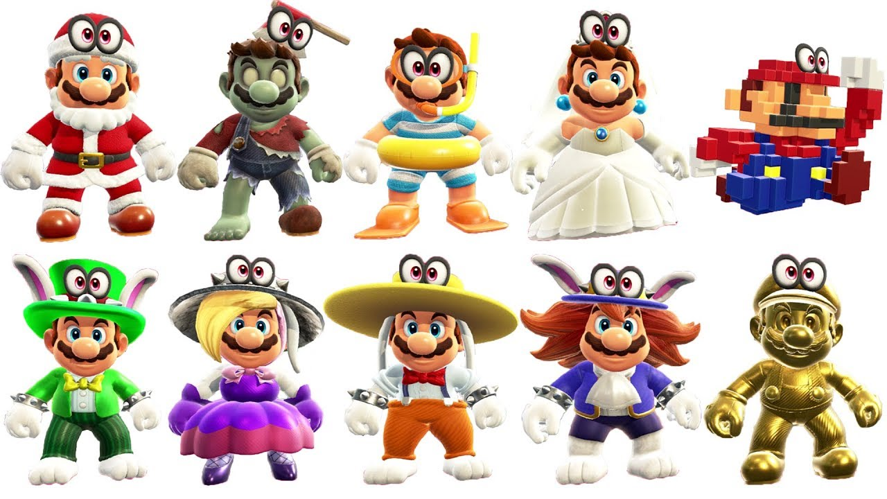 Super Mario Odyssey All Outfits Dlc Included Youtube