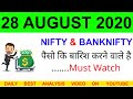 Bank Nifty & Nifty tomorrow 28 AUGUST 2020 Chart Analysis ...