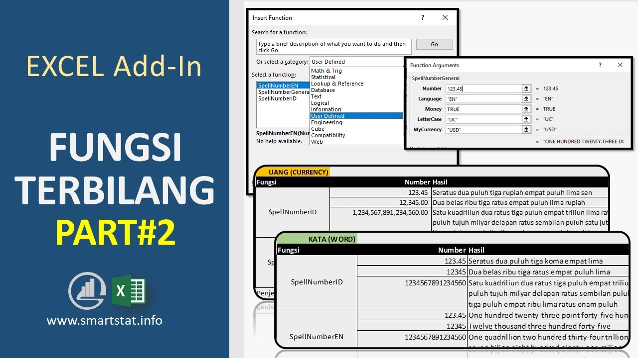 Excel Cara Install Fungsi Terbilang Spell Number Idr Usd Eur Gbp Yen Sar Aed Part 2 Youtube