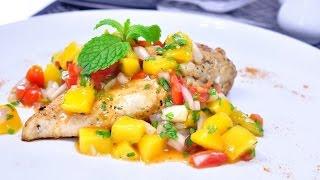 สเต็กไก่ซัลซ่ามะม่วง Grilled Chicken With Mango Salsa