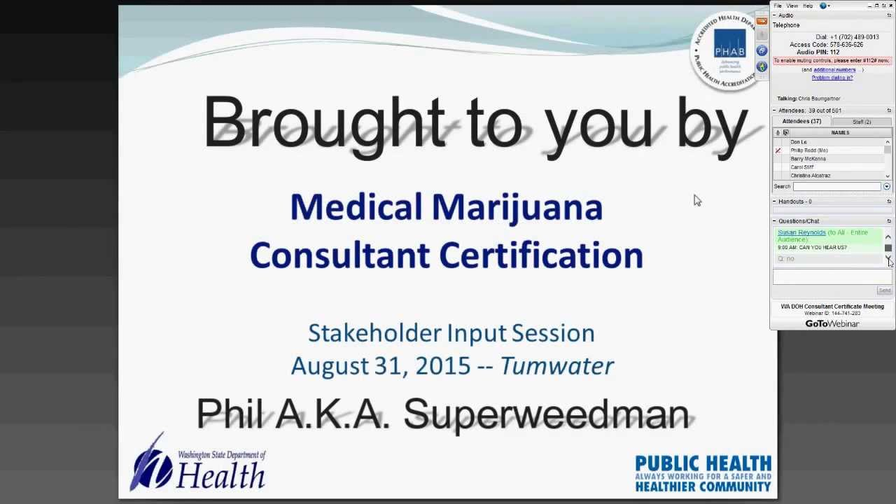 Medical Marijuana Cannabis Consultant Certification Stakeholders