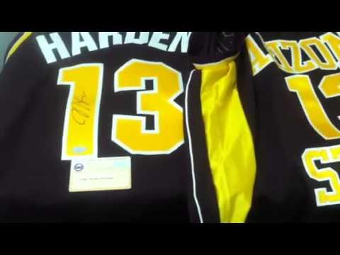 super popular c0de1 069f3 James Harden Signed Arizona State ASU Basketball Jersey ...