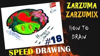 SPEED DRAWING HOW TO DRAW  ZOMBIE MUSHROOM EASY AND FAST # 18