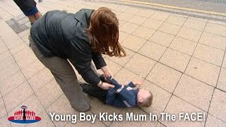 Boy Kicks Mom In The FACE! | Supernanny