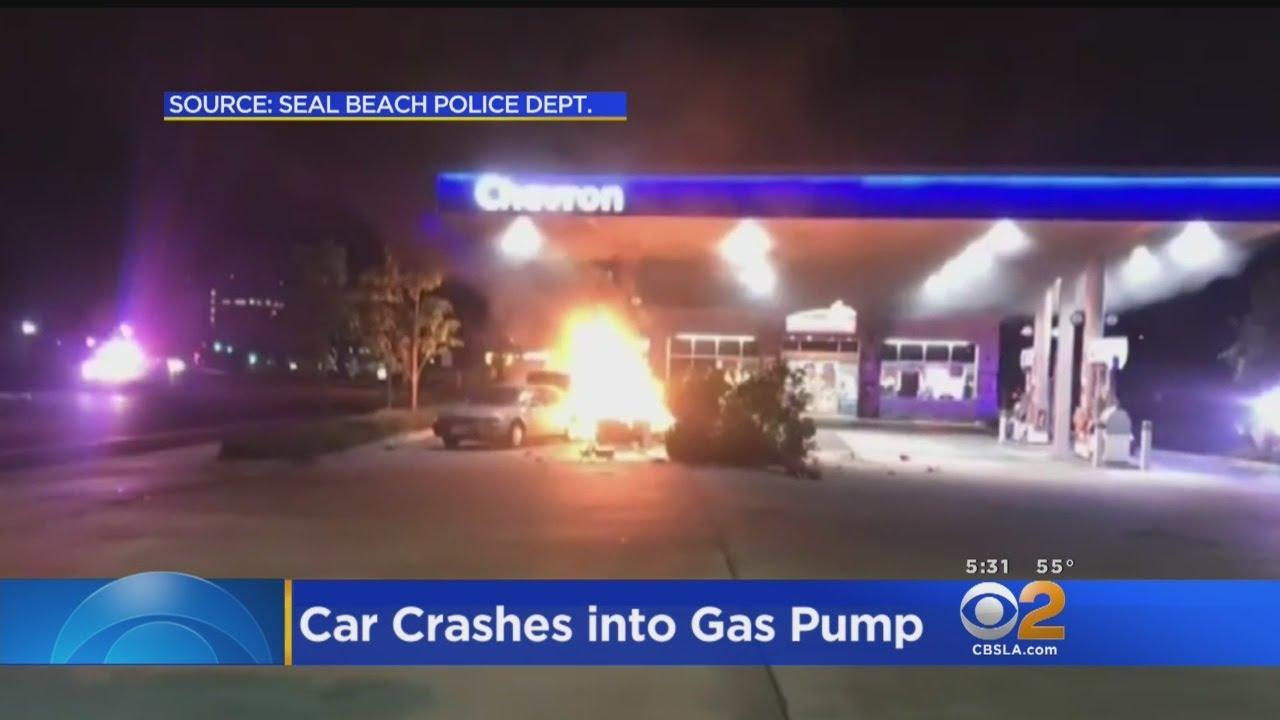 Car Crash Sparks Fire At Seal Beach Gas Station