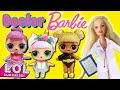 LOL Surprise Dolls Go to the Doctor with Barbie! Starring Sugar Queen, Unicorn, and Queen Bee!