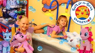 Gambar cover BUILD A BEAR WORKSHOP Best Store Ever Making My Little Pony Movie MLP Dolls Roller Skates Cute Girls