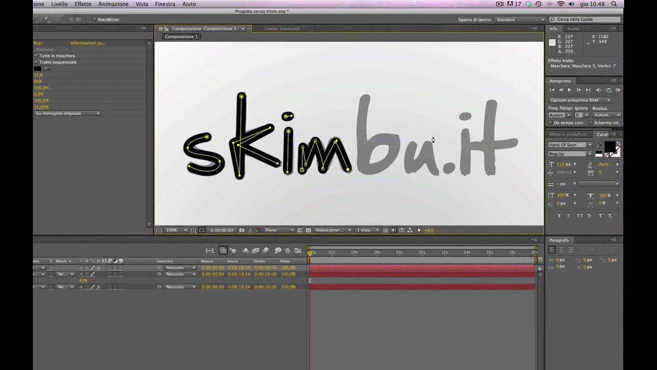 """Conosciuto Creare l'effetto """"scrittura a mano"""" con Adobe After Effects - YouTube YF12"""