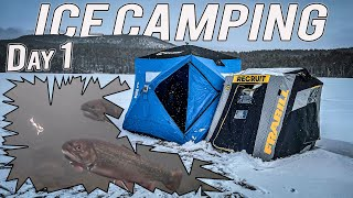 SOLO ICE CAMPING CAṪCH CLEAN COOK with INCREDIBLE UNDERWATER FOOTAGE (Day 1)