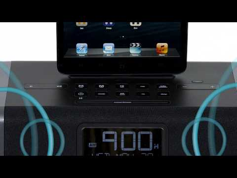 best clock radio iphone 5 ipod touch and ipad mini with alarm clock and weather funnydog tv. Black Bedroom Furniture Sets. Home Design Ideas
