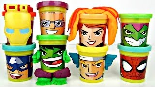 MARVEL Superheroes Play-doh Can Heads Kids Video with Toys Unlimited