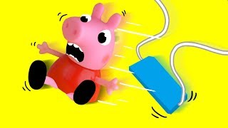 Piggy and George Having Fun on the Swing - Toys Cartoons for childrens