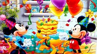 Минни Маус  и Микки Маус празднуют День Рождения собираем пазлы для детей Микки Маус Mickey Mouse