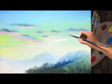 Learn Basic Acrylic Painting Lesson Mountains and Sky with Clouds for Beginners | EASY ART TUTORIAL