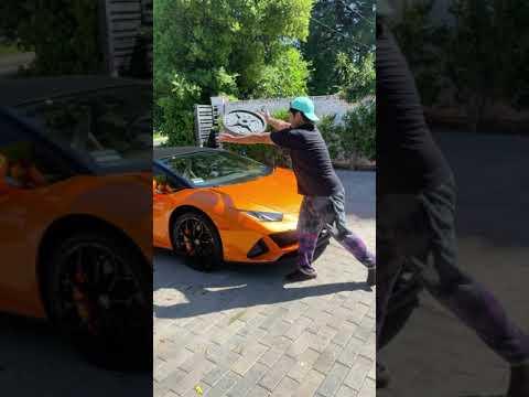 Smashing a Lamborghini on the streets! #shorts