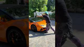 Smashing a Lamborghini on the streets! #shorts