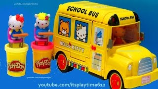 HELLO KITTY SCHOOL BUS & Play-Doh Sweets | itsplaytime612