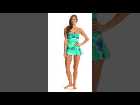 Ceeb Key Largo Bandeau Skirted One Piece Swimsuit | SwimOutlet.com