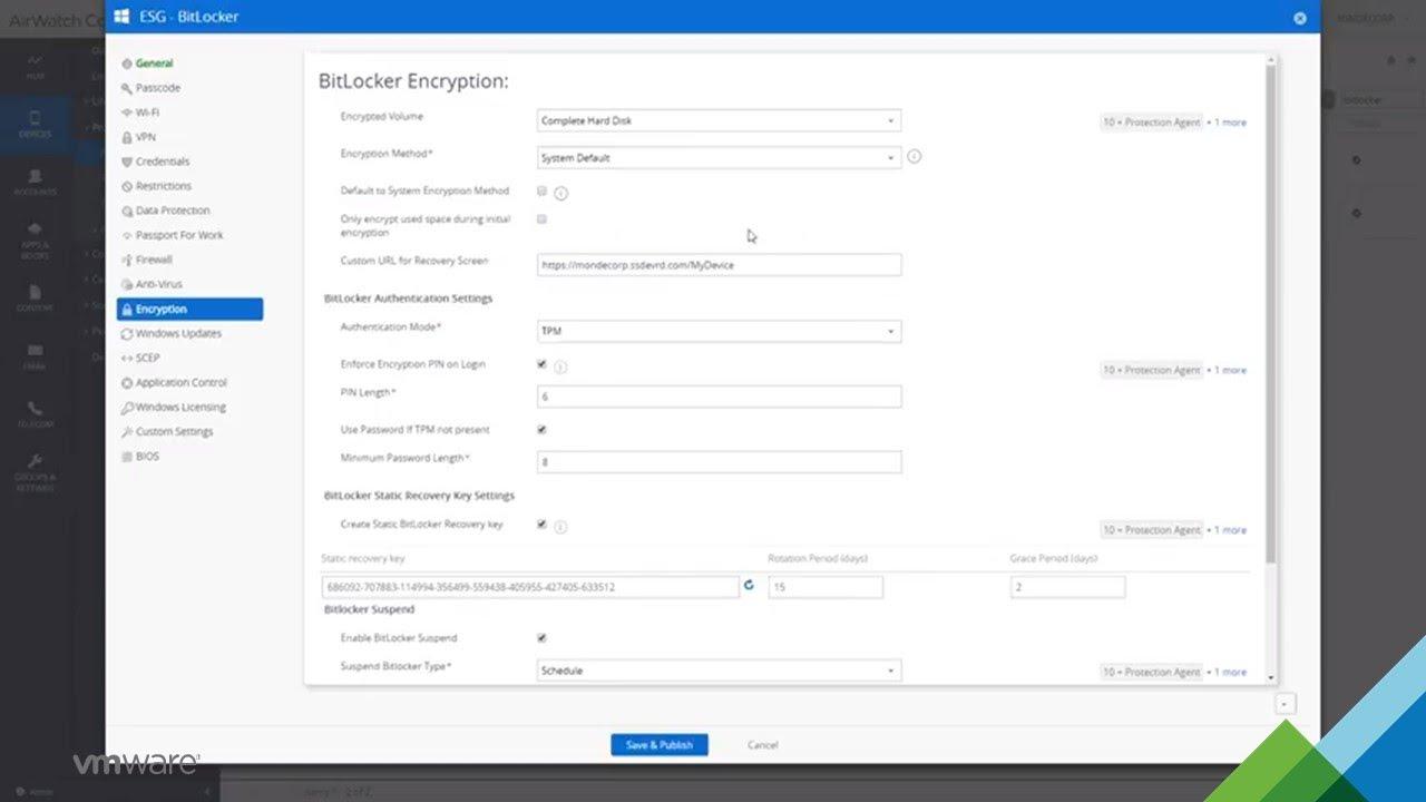 VMware Workspace ONE BitLocker Management Admin Experience