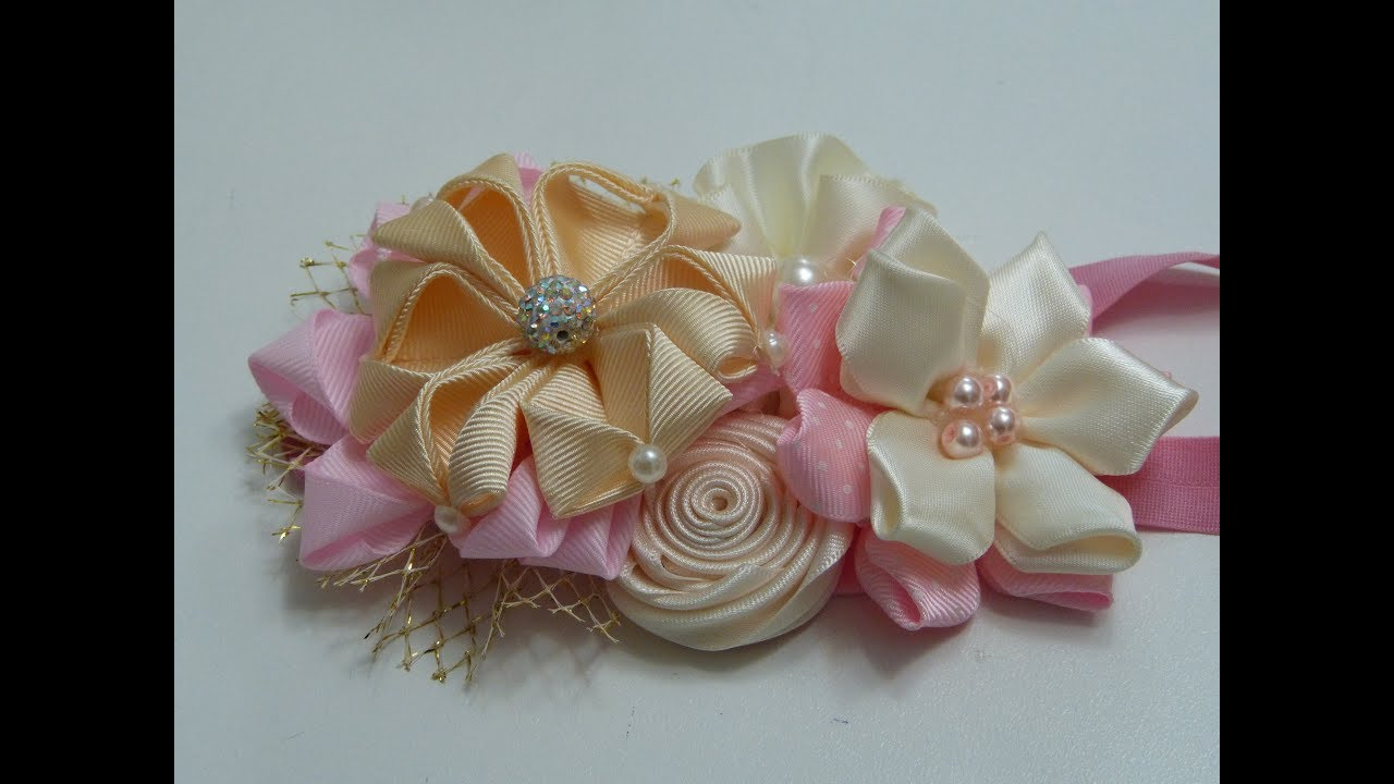 Mo os para bautizo bebe hermosas flores de liston para - Material para hacer diademas ...