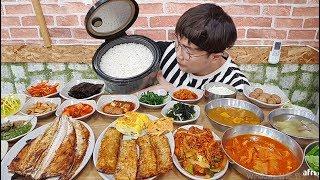 18가지 반찬이 나오는 백반 무한리필 8천원 밥통째로 먹었습니다 korean food mukbang 야식이 먹방
