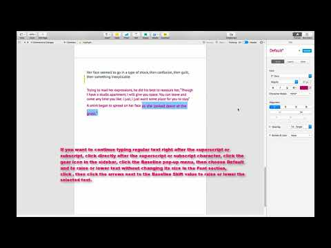 MAKE CHARACTERS OR TEXT SUPERSCRIPT OR SUBSCRIPT IN A PAGES DOCUMENT MAC
