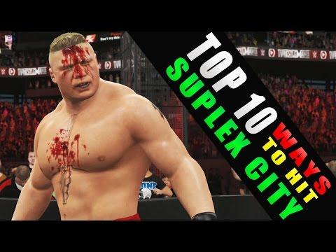 WWE 2K16 - TOP 10 Ways to Hit Suplex (Brock Lesnar)