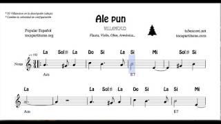 Ale pun Partitura con Notas y Acordes Flautas, Violín, Oboe Villancico