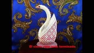 Origami 3d  Cisne Rosa