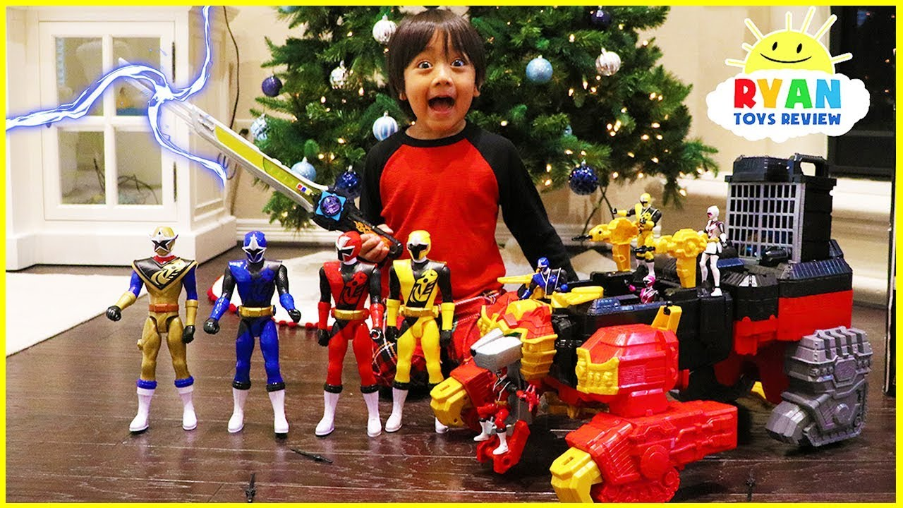Power Rangers Christmas Tree.Ryan Unlocks The Biggest Power Rangers Ninja Steel Surprise Toys Ever